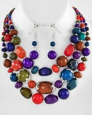 Three Layers Multi Color Lucite Bead Gradual Necklace Earring Set
