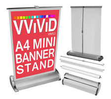 "Retractable A4 Mini Table Top Banner Stand 8.3"" Wide 12"" Tall Roll Up Display"