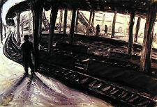 ORIGINAL PRINTArthur Robins Oil Painting NYC cityscape SUBWAY OF THE MIND NoRsv