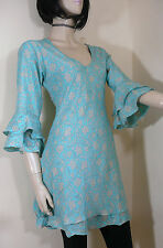 Indian Tunic Top Kaftan Kurta Size 10 Boho Hippy Floral Long Top