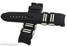 Genuine Techno Master 22mm Black Rubber & Stainless Steel Watch Band Strap