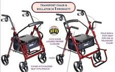 Duet Transport Chair Rollator Walker, Rolling, Burgundy Drive Medical 795BU