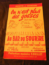 Partition On n'est plus des gosses Legrand Au bar du sourire 1959