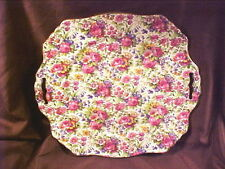 "ROYAL WINTON CHINTZ, SUMMERTIME #775, 11"" ASCOT SQUARE CAKE PLATE, PRE 1960"