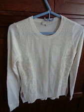 Ann Tayor Lot Off White Sweater W/Lace Sides L/S Cotton Silk Blend NWOT Small