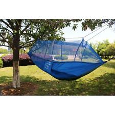 Portable Parachute Nylon Fabric Hammock for two person Travel Camping Blue