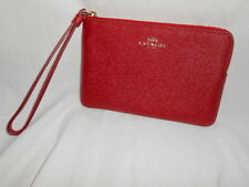 COACH 58032 CROSSGRAIN LEATHER CORNER ZIP WRISTLET SMALL CLUTCH TRUE RED WALLET