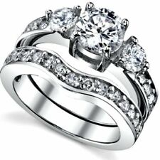925 Sterling Silver Round cut Diamond Engagement Ring Wedding Set Womens size 10