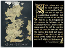 Game of Thrones 2 Individual Posters! Map Night watch Seven Kingdom fantasy New