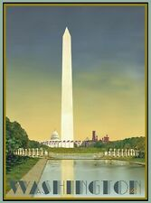 Washington Monument DC-Vintage Art Deco Style Poster-by Aurelio Grisanty