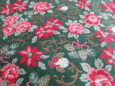 Vtg 80s Victoriana Christmas cotton fabric Cherub Poinsettia half yard cut green