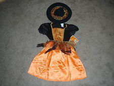 Witch Costume Orange Witch October Witch Dress Hat Skirt Size Girls 6-8