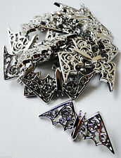 6 SILVER FILIGREE BAT BUTTONS! GOTHIC VAMPIRE VICTORIAN FLYING FOX HALLOWEEN