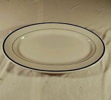 VINTAGE SHENANGO CHINA OVAL PLATTER WITH GREEN RINGS stripes new castle, pa