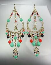 GORGEOUS Dark Multicolor Crystals Peruvian Beads Gold Chandelier Dangle Earrings