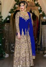 BOLLYWOOD ASIAN DRESS LONG ANARKALI SALWAR KAMEEZ SUIT PARTY WEAR- blue