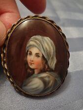 Antique Hand Painted Porcelain Miniature Portrait Young Woman Bronze Twist Bezel