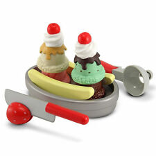 Melissa & Doug Slice & Scoop Ice Cream Sundae Wooden Playfood Set NEW