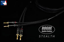 8ft. Pair ROGUE Audio Cables STEALTH Audiophile Speaker Cables 12ga 2x2 MADE USA