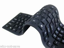 USB 2.0 Silicone Roll Up Foldable FLEXIBLE Keyboard for Dell Toshiba PC COMPUTER