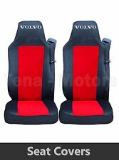 2 x VOLVO FH12 FH16 FL FM Seat Covers Tailored HGV Truck Lorry Black / Red