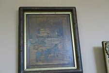 """Antique Inlaid Wood Carving Painting Panel  8"""" x 10"""" - 12"""" x 14"""" Frame Folk Art"""