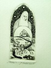 Signed Original Etching Print on Paper by Lithuanian Artist Miniature NR LP07