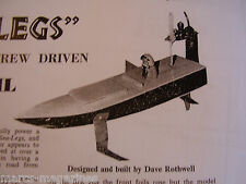 A MODEL BOAT PLAN 1967 SEA LEGS BASIC SIMPLE AIRSCREW DRIVEN HYDROFOIL ON A3