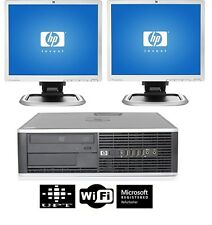 "HP Desktop PC Computer Core 2 Duo 4GB RAM DUAL 2X19"" LCD Monitor WIFI Windows 10"
