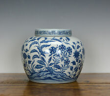 SUPERB Chinese Ming Chenghua Style Blue and White Flower Plant Porcelain Jar