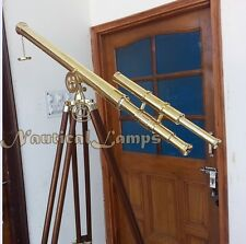 Marine Navy Brass Telescope w Wooden Tripod Polished Brass Astro Antique Style