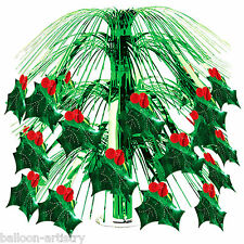 """18"""" Christmas Green Foil Holly Berry Party Cascade Table Centrepiece Decoration"""