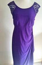 R&M Richards Purple Embellished Evening Dress Formal Party Dress sz 10P #A128
