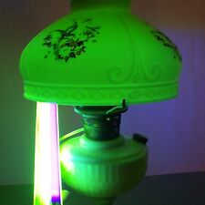 "Vtg Aladdin Lincoln Drape Uranium Vaseline 10"" Shade Oil Electric Lamp USA #A30"