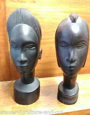MAN & WOMAN HARDWOOD AFRICAN ETHNIC TRIBAL CARVED HEADS/BUSTS  - FREE UK POST