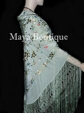 Maya Matazaro Flamenco Embroidered Silk Piano Shawl Wrap Sage Green 84""