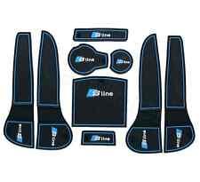 9pcs Bule Sline Car Interior Non-slip Door Cup Holder Rubber Mats A4L 2013-2016