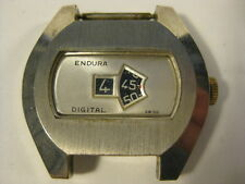 Vtg Endura Jump Hour Digital Mens Watch for Parts or Repair Not Running [A21]