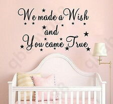 We made a wish Wall Quotes decal Removable stickers decor Vinyl art kids nursery