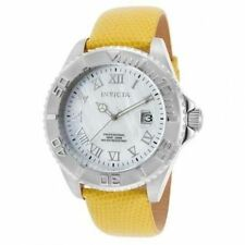 New Mens Invicta 18426  Pro Diver Yellow Genuine Leather MOP Dial SWISS Watch