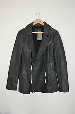 **BRAND NEW WITH TAGS** AllSaints Mens Adelaid Leather Pea Coat MEDIUM Jacket