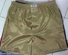 "XL New Men's Underwear Thai Silk Boxer Shorts 35""- 38"" Gold Sleepwear Pants"