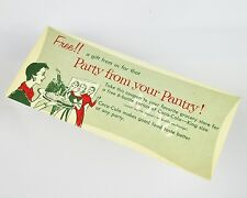 Schöner alter Coca-Cola Coupon USA 1950er - Party From Your Pantry!