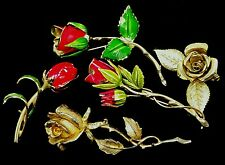 Colorful Vintage Costume Jewelry Lot Flower Power Brooches Rose Signed Giovann