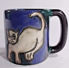 MARA MEX Artist Studio POTTERY Heavy MUG 16 oz BLUE GREEN CAT DOG MEXICO