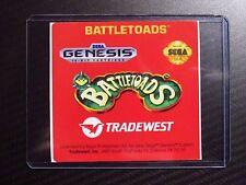 Battletoads Sega Genesis Replacement Game Label Sticker Precut