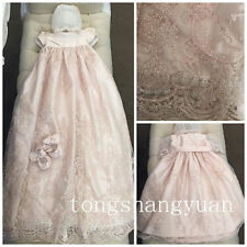 Angela West Baptism Dress Long Lace White Ivory Blessing Christening Gown Bonnet