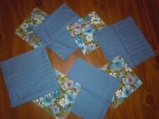 8 Cloth Napkins Dining Table Linen Blue Floral Country Cottage Shabby Chic EUC