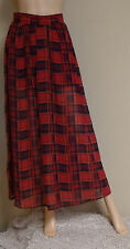 LIVING DOLL JR RED TARTAN PLAID MAXI LONG SKIRT SIZE S ELASTIC BACK WAIST NEW