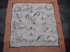 Hermes scarf scarf CARRE mousseline **dogs** light pink